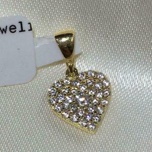 gouden collier hartje zirkonia steentjes